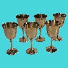 Vintage Silver-Plate Wine Glasses - Set of 6 - Portugal