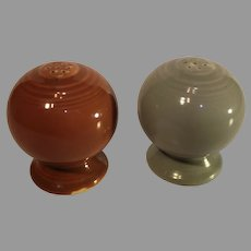 Vintage Gray and Maroon Fiesta Salt and Pepper Shakers