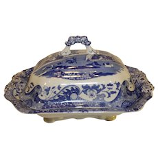 Vintage Spode Italian Pattern Transfer  Blue Covered Vegetable