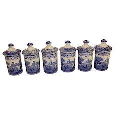 Vintage Set of 6 Spice Bottles - Spode Italian Transfer Blue