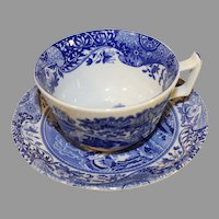 Vintage Spode Italian Pattern Flow Blue Cup and Saucer