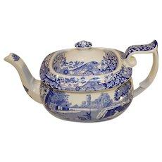 Vintage Spode Italian Pattern Flow Blue Teapot