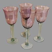 Vintage 4 Hand Blown Wine Glasses, Violet and Green - 1980s