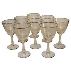 Vintage Glastonbury Lotus Brocade Silver Wine Goblets - 8