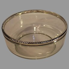 Vintage Serving Bowl with Silver-plate Rim