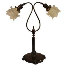 Antique Harp and Globe Table Lamp, Art Nouveau Era, 1890-1915