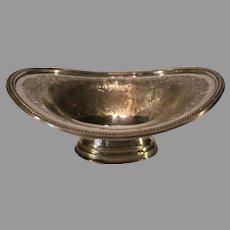 Antique J Barker Ellis Silverplate Oval Pedestal Dish - 1912