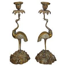 Antique Thomas Abbott Bronze Cranes - late 1800s