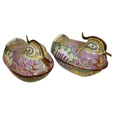 Antique Chinese Cloisonne Bird Boxes