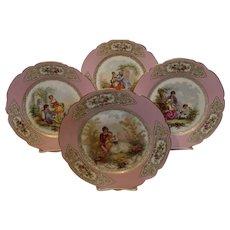 Sevres Cabinet Plates painted by DeBrie - Chateau de St. Cloud - 1846
