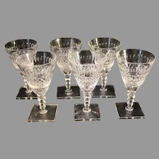T. G. Hawkes and Co. Cut Crystal Claret Wine Stems - Foley Pattern