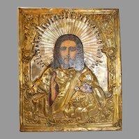 Russian Christ Icon with Copper Riza - 1850-1917