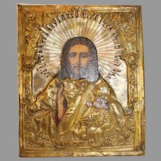 Russian Christ Icon with Copper Riza - 1850-1917