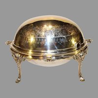 Antique Walker and Hall Sheffield Silverplate Roll Top Covered Warmer - 1890