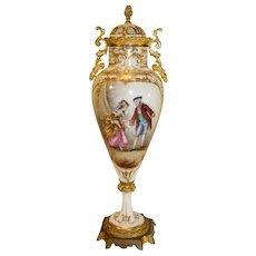 Antique Sevres Bronze Ormolu Porcelain Lidded Urn - signed HUET