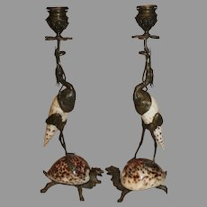 Antique Bronze and Shell Egret and Turtle Candlesticks - late 1800s