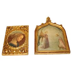 Pair of Vintage Italian Religious Miniatures - first half of the 20th Cent