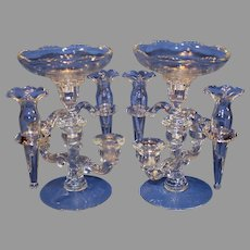 Pair of Cambridge Glass Epergnes/Candleholders - 1940-1950