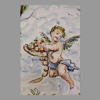 Vintage Hand Painted Italian Charger with Cupid by Giuseppe Mazzotti