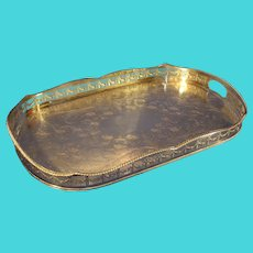 Vintage Oval Gallery Tray - Sheffield Silver-plate