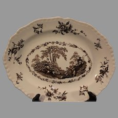 Mason's Watteau Pattern Ironstone Brown Scalloped Platter