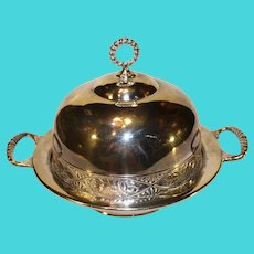 Antique Pairpoint Quadrupleplate Covered Butter Dish
