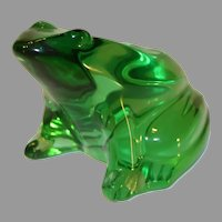 Vintage Green Baccarat Crystal Frog Paperweight