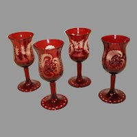 4 Ruby Cut to Clear Bavarian Cordials - c. 1930s