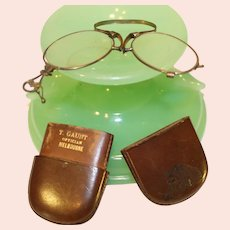 Antique Spring Eye Glasses in Leather Case