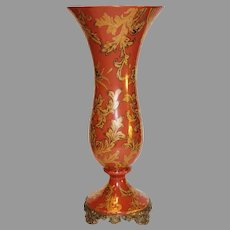 Vintage CastilianPorcelain Ormolu Footed Vase