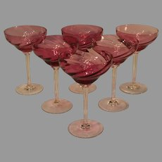 Vintage Steuben Wine and Sherry Goblets Cranberry to Clear Swirl