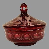Vintage Bavarian Ruby cut to Clear Crystal Egermann Design Covered Bowl