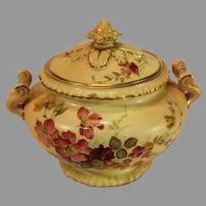 Antique Royal Worcester Blush Ivory Sugar Bowl - 1896