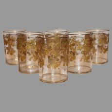 Antique Moser Short Tumblers - 10k Gold Encrusted