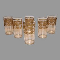 Antique Moser Tall Tumblers with Gold Encrusted Morning Glories