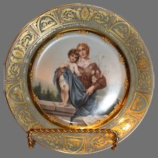 Antique Signed Wagner Porcelain Portrait Plate, The Virgin Mary and the Christ Child - C. 1890