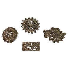4 Vintage Rhinestone Brooches - 1940s - Weiss Pieces - 2