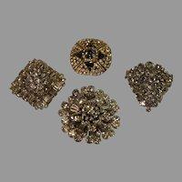 4 Vintage Rhinestone Brooches - 1 Weiss - c. 1940s