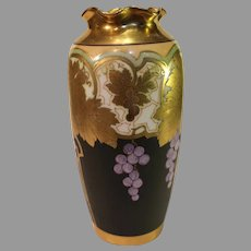 "Antique Osborne Art Studios Porcelain Vase - ""Metallic Grapes"" - 1913-1918"