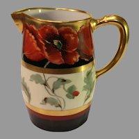 "Antique ""Poppy and Black"" Limoges Pitcher - John Loh  - 1903-1905"