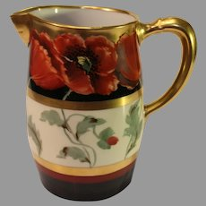 "Antique ""Poppy and Black"" Limoges Pitcher - John Loh  - 1903-1905"