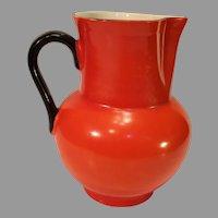 Vintage Orange Czechoslovakian Pottery Water Pitcher - 1918-1938