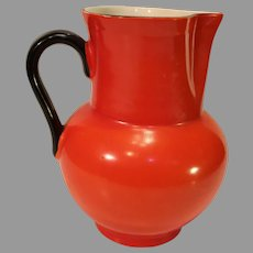 Vintage Orange Czechoslovakian Pottery Water Pitcher - 1918-1938