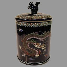 Antique Japanese Enameled Porcelain Biscuit Jar or Humidor