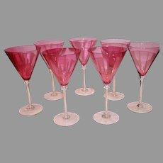 Vintage Bohemian Hand Blown Pink Wine Glasses