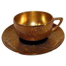 Vintage Rosenthal Cobalt Blue 14 K Gold Cup and Saucer - 1927