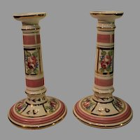 Pair of Antique Bohemian Porcelain Candlesticks - marked 9414