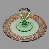 Uranium Green/Sterling Banded Depression Glass Tidbit Tray - 1920-1930s