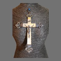 19th Century French Sterling/Mother of Pearl Crucifer