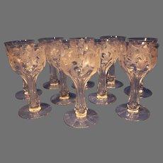 Vintage Scottish Crystal Thistle Champagne Glasses - 10